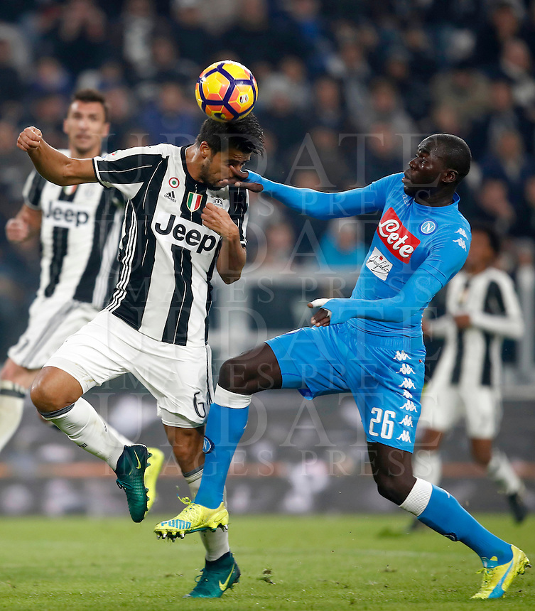 Calcio, Serie A: Juventus Stadium. Torino, Juventus Stadium, 29 ottobre 2016.<br /> Juventus' Sami Khedira, left, is challenged by Napoli's  Kalidou Koulibaly during the Italian Serie A football match between Juventus and Napoli at Turin's Juventus Stadium, 29 October 2016. Juventus won 2-1.<br /> UPDATE IMAGES PRESS/Isabella Bonotto