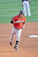 Ramon Laureano (7) of the Nashville Sounds circles the bases after hitting a hime run against the Salt Lake Bees at Smith's Ballpark on July 27, 2018 in Salt Lake City, Utah. The Bees defeated the Sounds 8-6. (Stephen Smith/Four Seam Images)
