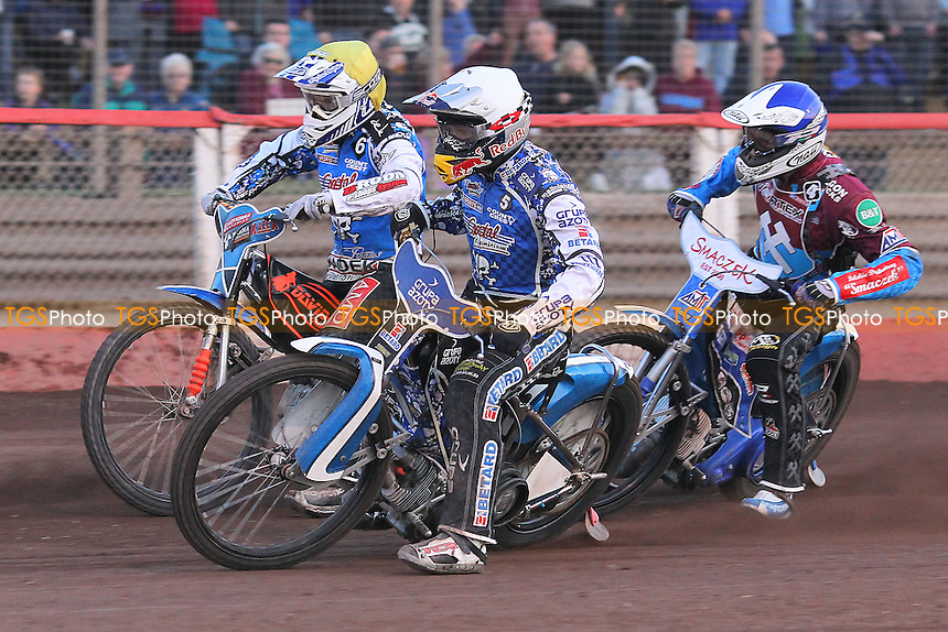 Heat 9: Swiderski (blue), Janowski (white) and Stachrya - Lakeside Hammers vs Poole Pirates - Sky Sports Elite League Speedway at Arena Essex Raceway, Purfleet - 07/06/13 - MANDATORY CREDIT: Gavin Ellis/TGSPHOTO - Self billing applies where appropriate - 0845 094 6026 - contact@tgsphoto.co.uk - NO UNPAID USE