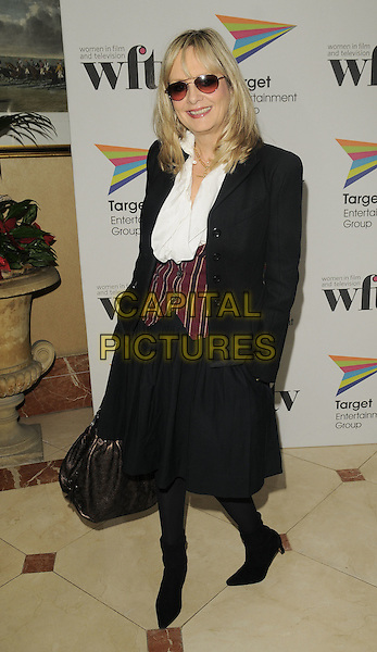 TWIGGY LAWSON.The Target Women in Film & TV Awards, London Hilton hotel, park Lane, London, England..December 5th, 2008.full length black jacket skirt striped stripes waistcoat brown bronze bag purse sunglasses shades boots white blouse .CAP/CAN.©Can Nguyen/Capital Pictures.