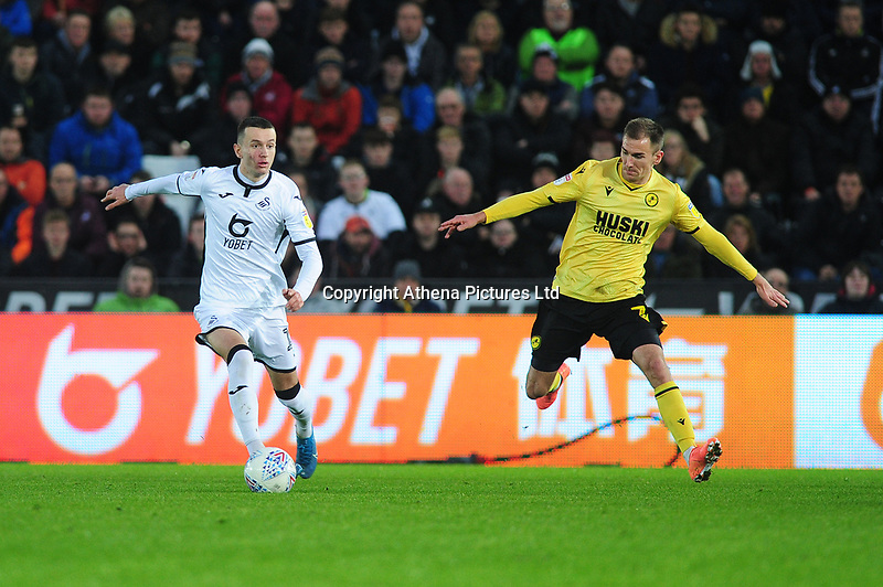 Bersant Celina of Swansea City in action during the Sky Bet Championship match between Swansea City and Millwall at the Liberty Stadium in Swansea, Wales, UK. Saturday 23rd November 2019