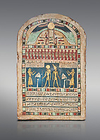 Ancient Egyptian stele dedicated to Ra-Harakhty & Atum by Psetjerfi, Late Period 26th Dynasty, (590-525 BC), Cat 1568. Egyptian Museum, Turin. Grey background.<br /> <br /> Gifted by the Cairo Museum