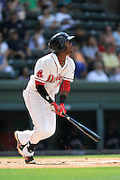 Center fielder Luis Alexander Basabe (19) of the Greenville Drive bats in a game against the Hagerstown Suns on Sunday, July 17, 2016, at Fluor Field at the West End in Greenville, South Carolina. Hagerstown won, 3-2. (Tom Priddy/Four Seam Images)