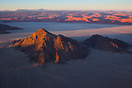 "Namibia;  Namib Desert, Namib-Naukluft National Park, ""Inselberg"" and red sand dunes near Sossusvlei, sunrise"