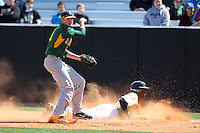 Siena Saints shortstop Ryan Metzler #31 forces Darnell Sweeney back to the bag during a rundown and throws home for a play during a game against the UCF Knights at the UCF Baseball Complex on March 4, 2012 in Orlando, Florida.  Central Florida defeated Siena 15-2.  (Mike Janes/Four Seam Images)