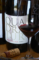 Cuvee Quadratur. Domaine Coume del Mas. Banyuls-sur-Mer. Roussillon. France. Europe. Bottle. Wine glass.