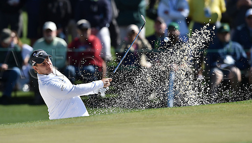 07.04.2016. Augusta, GA, USA. Emiliano Grillo plays a shot from a bunker on the second hole during the first round of the Masters Golf Tournament on Thursday, April 7, 2016, at Augusta National Golf Club in Augusta, Ga