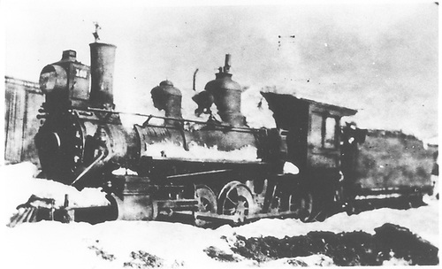 Engine #160 in the snow.<br /> D&amp;RG