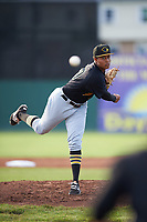 West Virginia Black Bears starting pitcher Sergio Cubilete (70) delivers a warmup pitch during a game against the Batavia Muckdogs on June 26, 2017 at Dwyer Stadium in Batavia, New York.  Batavia defeated West Virginia 1-0 in ten innings.  (Mike Janes/Four Seam Images)