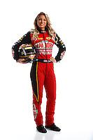 Feb 8, 2017; Pomona, CA, USA; NHRA top fuel driver Leah Pritchett poses for a portrait during media day at Auto Club Raceway at Pomona. Mandatory Credit: Mark J. Rebilas-USA TODAY Sports