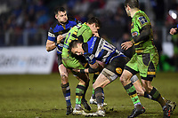 James Wilson of Bath Rugby puts in a tackle. Anglo-Welsh Cup Semi Final, between Bath Rugby and Northampton Saints on March 9, 2018 at the Recreation Ground in Bath, England. Photo by: Patrick Khachfe / Onside Images