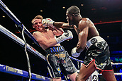 30th September 2017, Echo Arena, Liverpool, England; Matchroom Boxing, Eliminator for WBA Bantamweight World Championship; WBA International Super-Lightweight Championship tom farrell versus ohara davies; Ohara Davies  connects with a right hook on Tom Farrell's chin