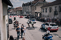 TdF peloton passing through town with Simon Clarke (AUS/Cannondale-Drapac) escorting team leader Rigoberto Uran (COL/Cannondale-Drapac) back to the bunch<br /> <br /> 104th Tour de France 2017<br /> Stage 4 - Mondorf-les-Bains &rsaquo; Vittel (203km)