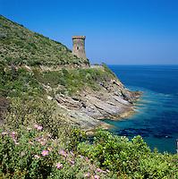France, Corsica, Cap Corse: Watchtower and Coastline | Frankreich, Korsika, Wachtturm an der Kueste des Cap Corse