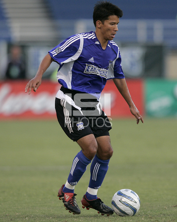 13 August 2005:  Mark Chung of the Earthquakes in action against the Rapids at Spartan Stadium in San Jose, California.  Earthquakes tied Rapids, 1-1.