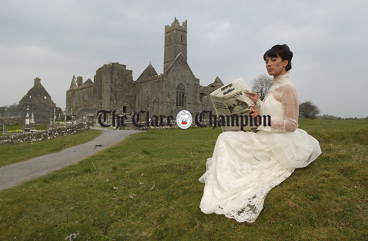 Champion Model: Clare model Martina Costelloe, of Celia Holman Lee Model Agency wearing an outfit from Scarlett, celebrates the hundredth anniversary of the Clare Champion newspaper at Quin Abbey. Photograph by John Kelly, The Clare Champion.