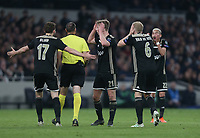 Ajax players cannot believe the decision made by referee Antonio Mateu Lahoz <br /> <br /> Photographer Rob Newell/CameraSport<br /> <br /> UEFA Champions League - Tottenham Hotspur v Ajax - Tuesday 30th April 2019 - White Hart Lane - London<br />  <br /> World Copyright © 2018 CameraSport. All rights reserved. 43 Linden Ave. Countesthorpe. Leicester. England. LE8 5PG - Tel: +44 (0) 116 277 4147 - admin@camerasport.com - www.camerasport.com