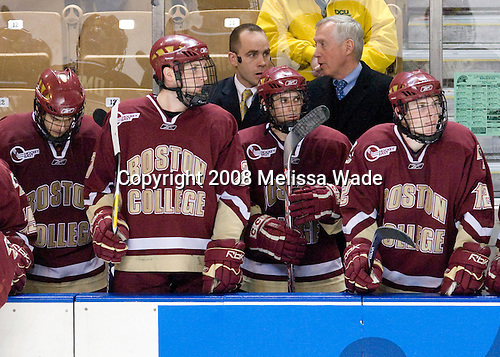 Matt Lombardi (BC - 24), Andrew Orpik (BC - 27), Mike Cavanaugh, Brian Gibbons (BC - 17), Jerry York (BC - Head Coach), Ben Smith (BC - 12) - The Boston College Eagles defeated the Miami University RedHawks 4-3 in overtime on Sunday, March 30, 2008 in the NCAA Northeast Regional Final at the DCU Center in Worcester, Massachusetts.