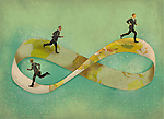 Illustrative image of businessmen running on infinity symbol