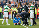 29.04.18 Celtic v Rangers: Scott Brown gestures to Andy Hallliday to leave the pitch