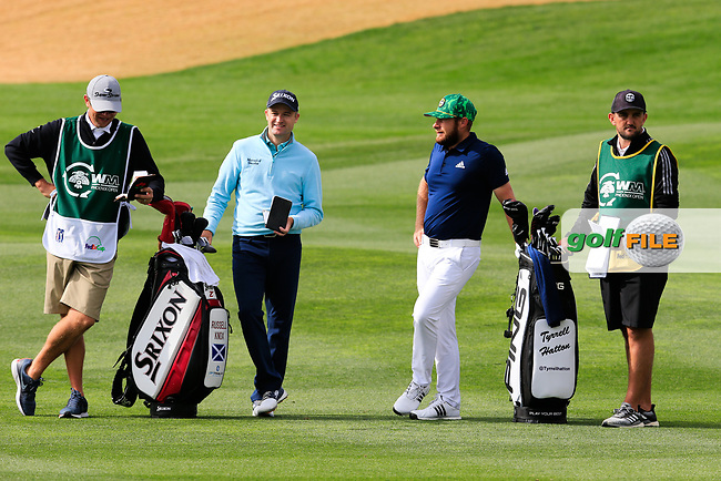Russell Knox (SCO) and Tyrrell Hatton (ENG) on the 9th fairway during the 3rd round of the Waste Management Phoenix Open, TPC Scottsdale, Scottsdale, Arisona, USA. 02/02/2019.<br /> Picture Fran Caffrey / Golffile.ie<br /> <br /> All photo usage must carry mandatory copyright credit (&copy; Golffile | Fran Caffrey)