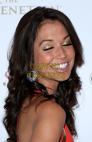 Melissa Rycroft.Launch party for Sands Style Magazine featuring Emeril Lagasse and Melissa Rycroft at Table 10 Restaurant inside the Palazzo Las Vegas..August 15th, 2012.headshot portrait red smiling eyes closed gold eyeshadow make-up.CAP/ADM/MJT.© MJT/AdMedia/Capital Pictures.