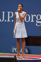 FLUSHING NY- SEPTEMBER 10: Renee Elise Goldsberry performs prior to the start of Angelique Kerber Vs Karolina Pliskova during the womens finals on Arthur Ashe Stadium at the USTA Billie Jean King National Tennis Center on September 10, 2016 in Flushing Queens. Credit: mpi04/MediaPunch