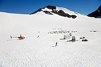 Aerial Punchbowl Glacier, Dog Sled Tour, Chugach National Forest, Alaska.