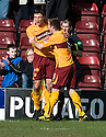 :: MOTHERWELL'S JOHN SUTTON IS CONGRATULATED BY MOTHERWELL'S STEVEN JENNINGS AFTER HE  SCORES THE SECOND FROM THE SPOT ::