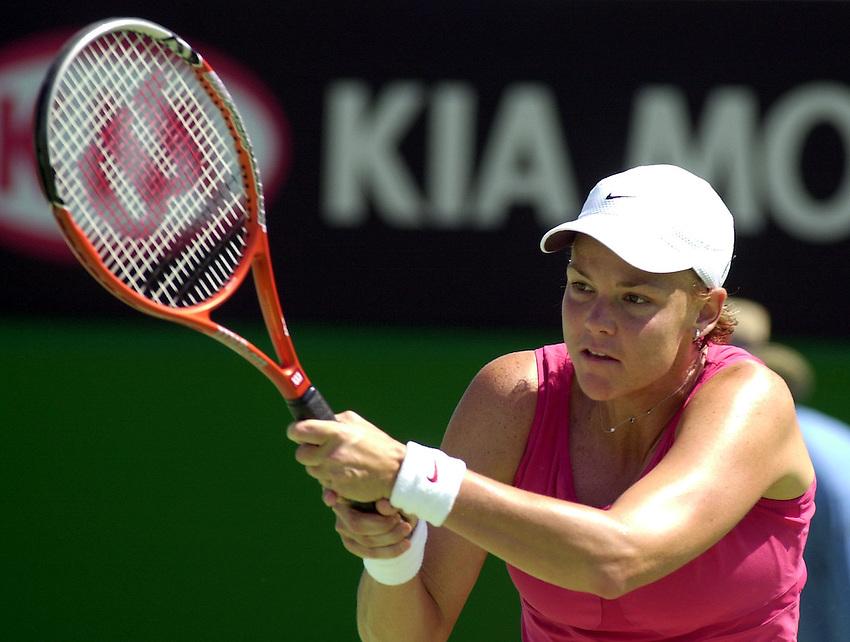 Australian Open Tennis 2003.17/01/2003.Lindsay Davenport v Tatiana Panova of Russia .Lindsay Davenport