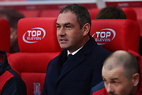 Swansea City manager Paul Clement prior to kick off of the Premier League match between Stoke City and Swansea City at the bet365 Stadium, Stoke on Trent, England, UK. Saturday 02 December 2017