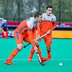 ROTTERDAM - Floris Wortelboer (NED)  met Jonas de Geus (NED)    tijdens   de Pro League hockeywedstrijd heren, Nederland-Spanje (4-0) .  COPYRIGHT KOEN SUYK