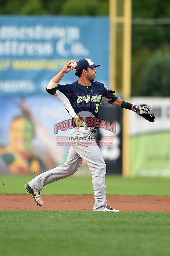 Vermont Lake Monsters second baseman Joe Bennie (3) throws to first during a game against the Jamestown Jammers on July 12, 2014 at Russell Diethrick Park in Jamestown, New York.  Jamestown defeated Vermont 3-2.  (Mike Janes/Four Seam Images)