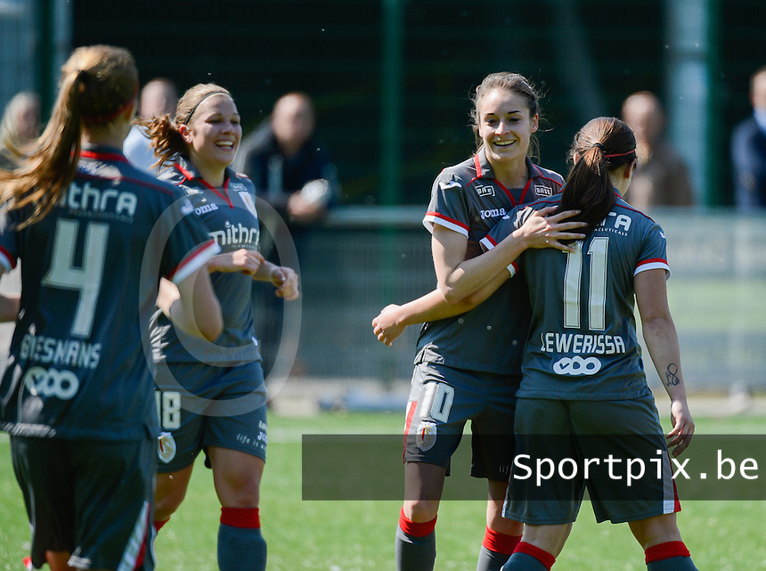 20140419 - ANTWERPEN , BELGIUM : Standard pictured celebrating the 0-2 lead with Tessa Wullaert (10)  during the soccer match between the women teams of RAFC Antwerp Ladies  and Standard Femina  , on the 24th matchday of the BeNeleague competition on Saturday 19 April 2014 in Deurne .  PHOTO DAVID CATRY