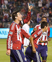 CD Chivas USA midfielder Sacha Kljestan (16) thanks his lucky stars after scoring a gaol. CD Chivas USA defeated the San Jose Earthquakes 3-2 at Home Depot Center stadium in Carson, California on Saturday April 24, 2010.  .