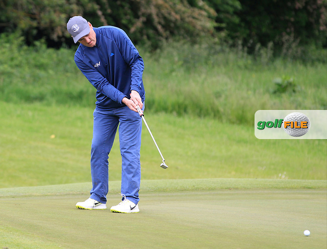 Eddie McCormack (Galway Bay) on the 1st green during Round 3 of the Irish Mid-Amateur Open Championship at New Forest on Sunday 21st June 2015.<br /> Picture:  Thos Caffrey / www.golffile.ie