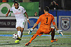 New York Cosmos forward No. 8 Gaston Cellerino, left, beats Ottawa Fury goalie Romuald Peiser on a breakaway for his third goal of the match in the second half of the NASL Championship against the Ottawa Fury at Shuart Stadium, located on the campus of Hofstra University, on Sunday, Nov. 15, 2015. Cellerino led the Cosmos to a 3-2 win.<br /> <br /> James Escher