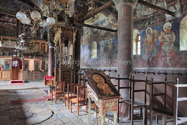 Church of St Nicholas or Kisha e Shen Kollit, built 1721, with frescoes painted 1726 by David from Selenitsa and the Apocalypse series in the arcade or hayat painted in 1750 by brothers Constantine and Athanas from Korce, nicknamed ìZographyî, Voskopoje, Korce, Albania. Picture by Manuel Cohen