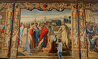 BNPS.co.uk (01202 558833)<br /> Pic: ZacharyCulpin/BNPS<br /> <br /> Renaissancespring clean<br /> <br /> A final inspection of 'Christ's Charge to Peter' <br /> <br /> The annual spring clean of the Mortlake Tapestriesat Forde Abbey in Dorset.<br /> <br /> They took over 3 weeks to clean, a scaffolding platform was used to reach the top of the 18 foot historic works of art.<br /> <br /> The Tapestries are hung on the walls in The Saloon of Forde Abbey, They are woven from the cartoons painted by Renaissance master Raphael, they depict the scenes from the lives of St Peter and St Paul, as described in St John's Gospel and Acts of the Aspostles. <br /> <br /> The original tapestries were commissioned for the Sistine Chapel, in Rome, by Pope Julius II, and were first woven in Brussels in about 1520. This set was made in London at the Mortlake factory about hundred years later.<br /> <br /> Raphael's cartoons depicted in the tapestries include: The Miraculous Draft of Fishes, Panel from 'The Death of Ananias,' The Healing of the Lame Man, Christ's charge of St Peter and The Sacrifice at Lystra before St Paul and St. Barnabus.<br /> <br /> Forde Abbey is a former Cistercian monastery in West Dorset dating back to the early 12th century.