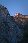 Evening light on granite peaks over Kings Canyon, Fresno County, California