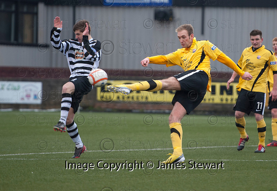 Montrose's Paul Watson scores their second goal.
