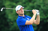 Bernd Wiesberger (Europe) on the 17th tee during the Singles Matches of the Eurasia Cup at Glenmarie Golf and Country Club on the Sunday 14th January 2018.<br /> Picture:  Thos Caffrey / www.golffile.ie