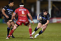 Freddie Burns of Bath Rugby in possession. European Rugby Champions Cup match, between Bath Rugby and the Scarlets on January 12, 2018 at the Recreation Ground in Bath, England. Photo by: Patrick Khachfe / Onside Images