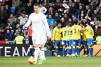 UD Las Palmas' players celebrate goal in presence of Real Madrid's Cristiano Ronaldo during La Liga match. March 1,2017. (ALTERPHOTOS/Acero) /NORTEPHOTOmex