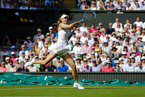 29.06.2015.  Wimbledon, England. The Wimbledon Tennis Championships. Ladies' Singles first round match between fourth seed Maria Sharapova (RUS) & Johanna Konta (GBR).  Maria Sharapova in action