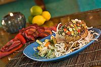 Rhumb Lines restaurant, Tuna entree<br /> Cruz Bay, St John<br /> U.S. Virgin Islands