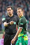 10.02.2019, Weser Stadion, Bremen, GER, 1.FBL, Werder Bremen vs FC Augsburg, <br /> <br /> DFL REGULATIONS PROHIBIT ANY USE OF PHOTOGRAPHS AS IMAGE SEQUENCES AND/OR QUASI-VIDEO.<br /> <br />  im Bild<br /> e ( Schiedsrichter / Referee) - betritt beim Werder Spiel sein 250.Bundesligaspiel<br /> Einzelaktion, Halbkörper / Halbkoerper,<br /> Niklas Moisander (Werder Bremen #18)<br /> <br /> <br /> Foto © nordphoto / Kokenge