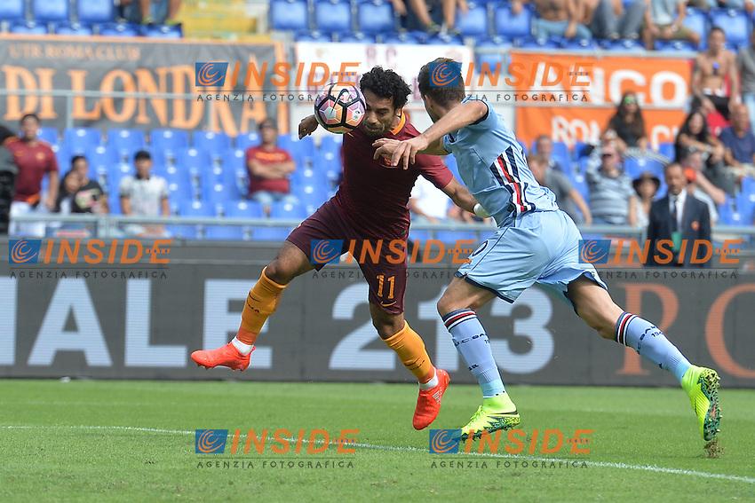 Gol di Mohamed Salah Roma. Goal celebration.<br /> Roma 11-09-2016  Stadio Olimpico<br /> Campionato Serie A,<br /> AS Roma - Sampdoria<br /> Foto Antonietta Baldassarre / Insidefoto