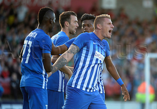 04.08.2016. Cork, Ireland. UEFA, Europa League football qualification round. Cork City versus Racing Genk.  Sebastien Dewaest defender of Krc Genk celebrates with teammates after scoring for 2-0 in the 41st minute