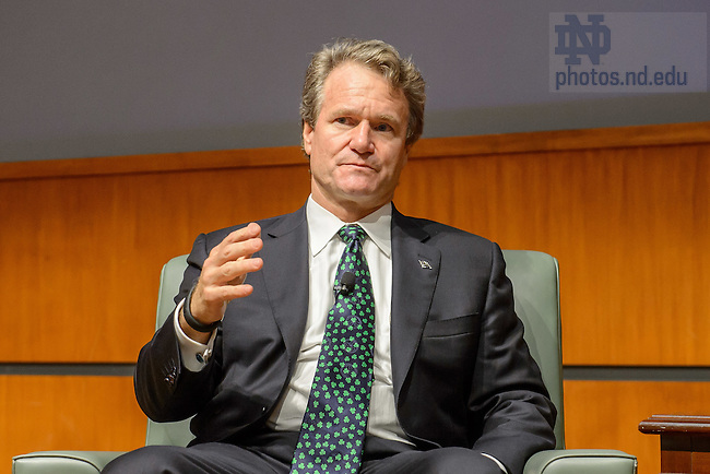 Sept. 18, 2015; Brian Moynihan, CEO of Bank of America, answers questions in the Jordan Auditorium.  The event was part of the Boardroom Inisghts lecture series. (Photo by Matt Cashore/University of Notre Dame)
